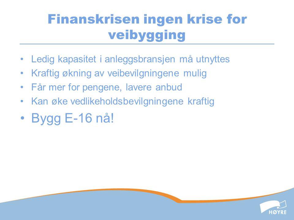 Finanskrisen ingen krise for veibygging