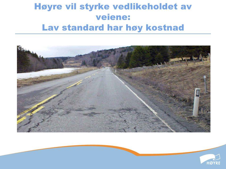 Høyre vil styrke vedlikeholdet av veiene: Lav standard har høy kostnad