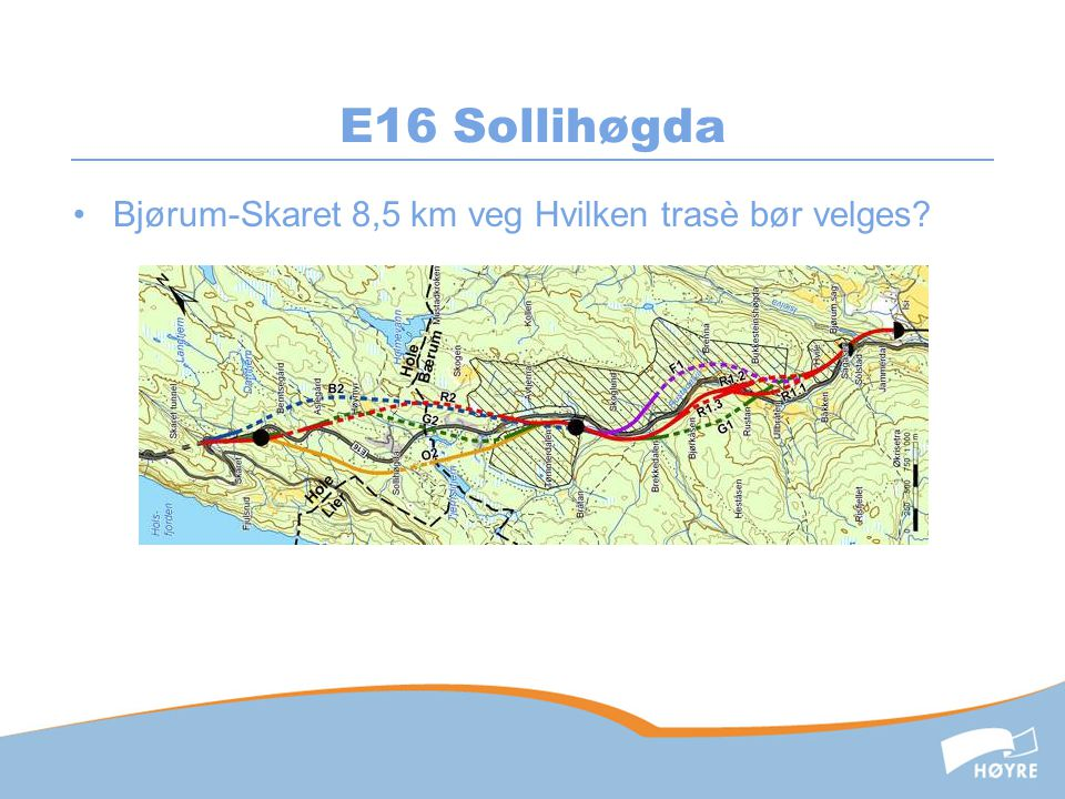 E16 Sollihøgda Bjørum-Skaret 8,5 km veg Hvilken trasè bør velges