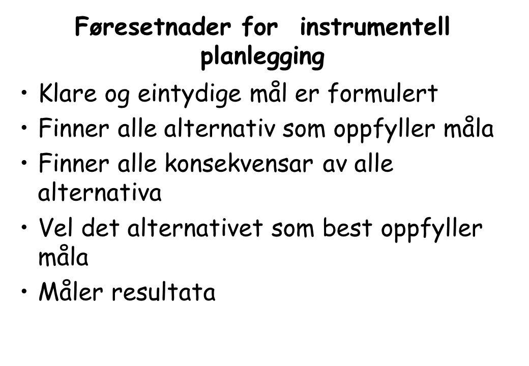 Føresetnader for instrumentell planlegging