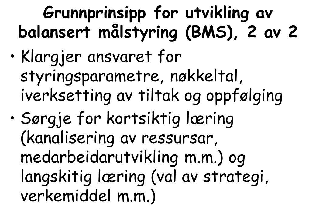 Grunnprinsipp for utvikling av balansert målstyring (BMS), 2 av 2