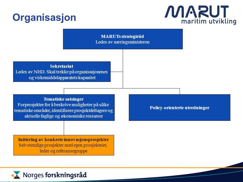 Organisasjon MARUTs strategiråd Ledes av næringsministeren Sekretariat