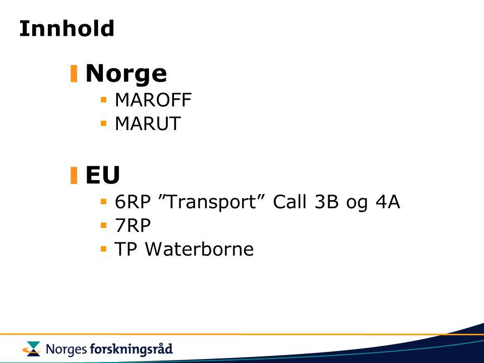 Norge EU Innhold MAROFF MARUT 6RP Transport Call 3B og 4A 7RP