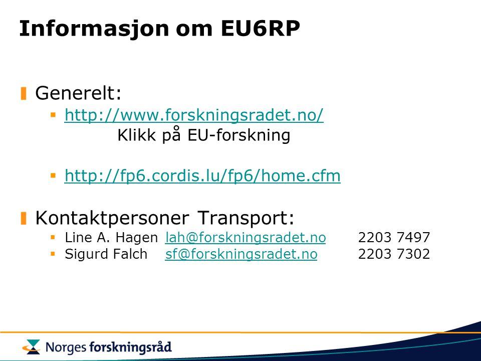 Informasjon om EU6RP Generelt: Kontaktpersoner Transport: