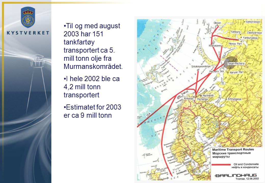 I hele 2002 ble ca 4,2 mill tonn transportert