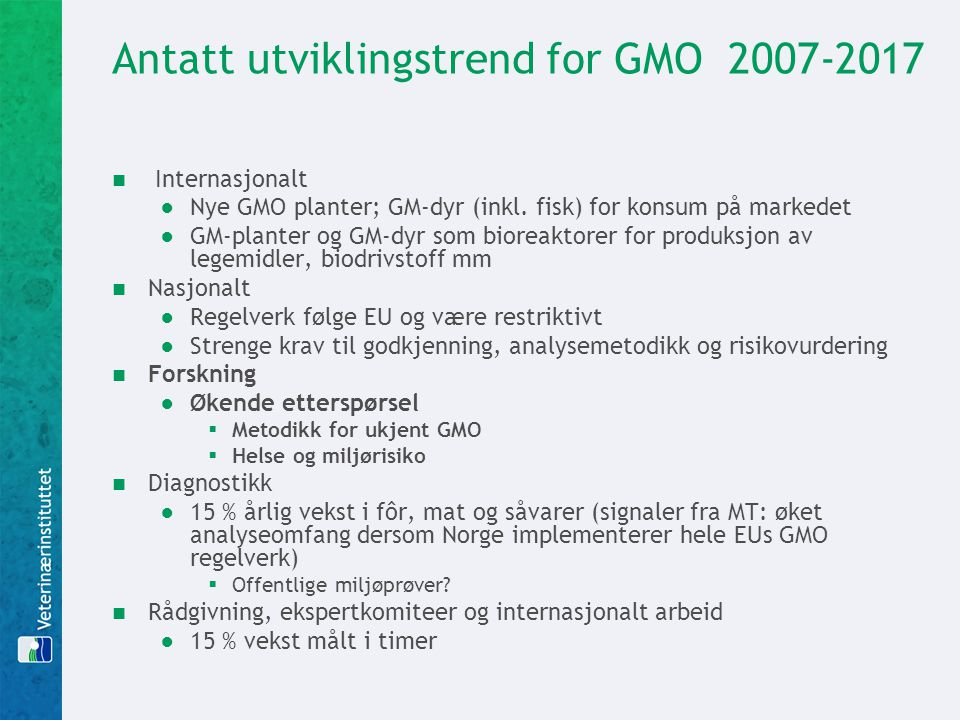 Antatt utviklingstrend for GMO 2007-2017
