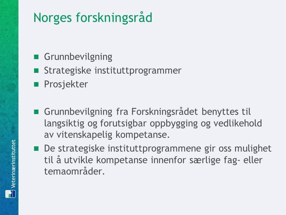 Norges forskningsråd Grunnbevilgning Strategiske instituttprogrammer