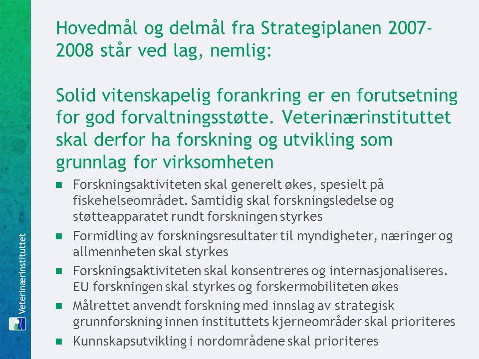 Hovedmål og delmål fra Strategiplanen 2007-2008 står ved lag, nemlig: Solid vitenskapelig forankring er en forutsetning for god forvaltningsstøtte. Veterinærinstituttet skal derfor ha forskning og utvikling som grunnlag for virksomheten
