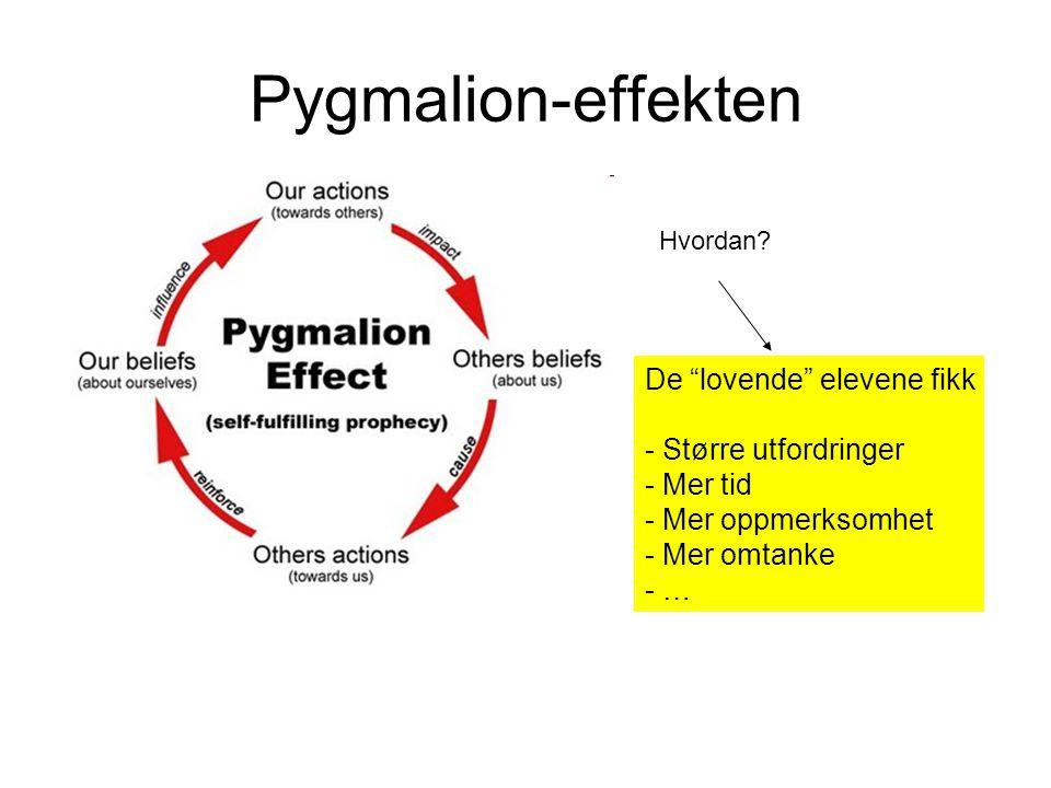 Pygmalion-effekten De lovende elevene fikk Større utfordringer