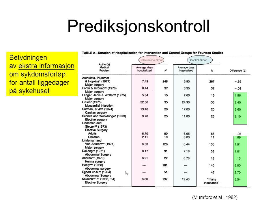 Prediksjonskontroll Betydningen av ekstra informasjon om sykdomsforløp