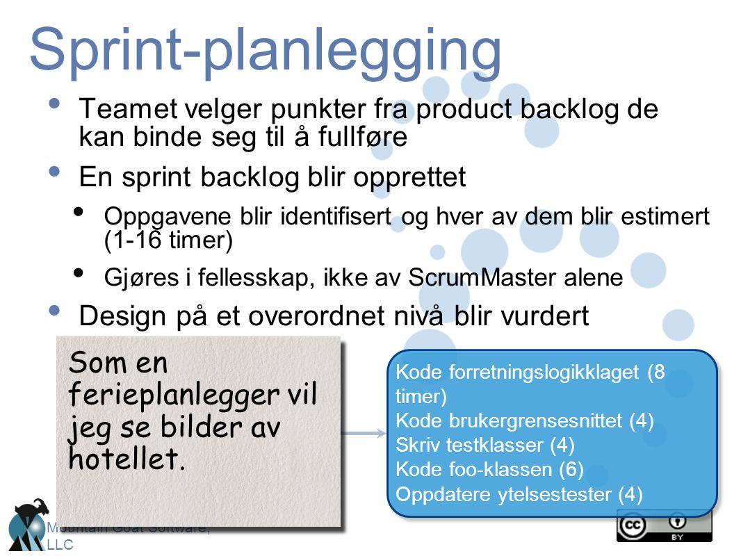 Sprint-planlegging Teamet velger punkter fra product backlog de kan binde seg til å fullføre. En sprint backlog blir opprettet.
