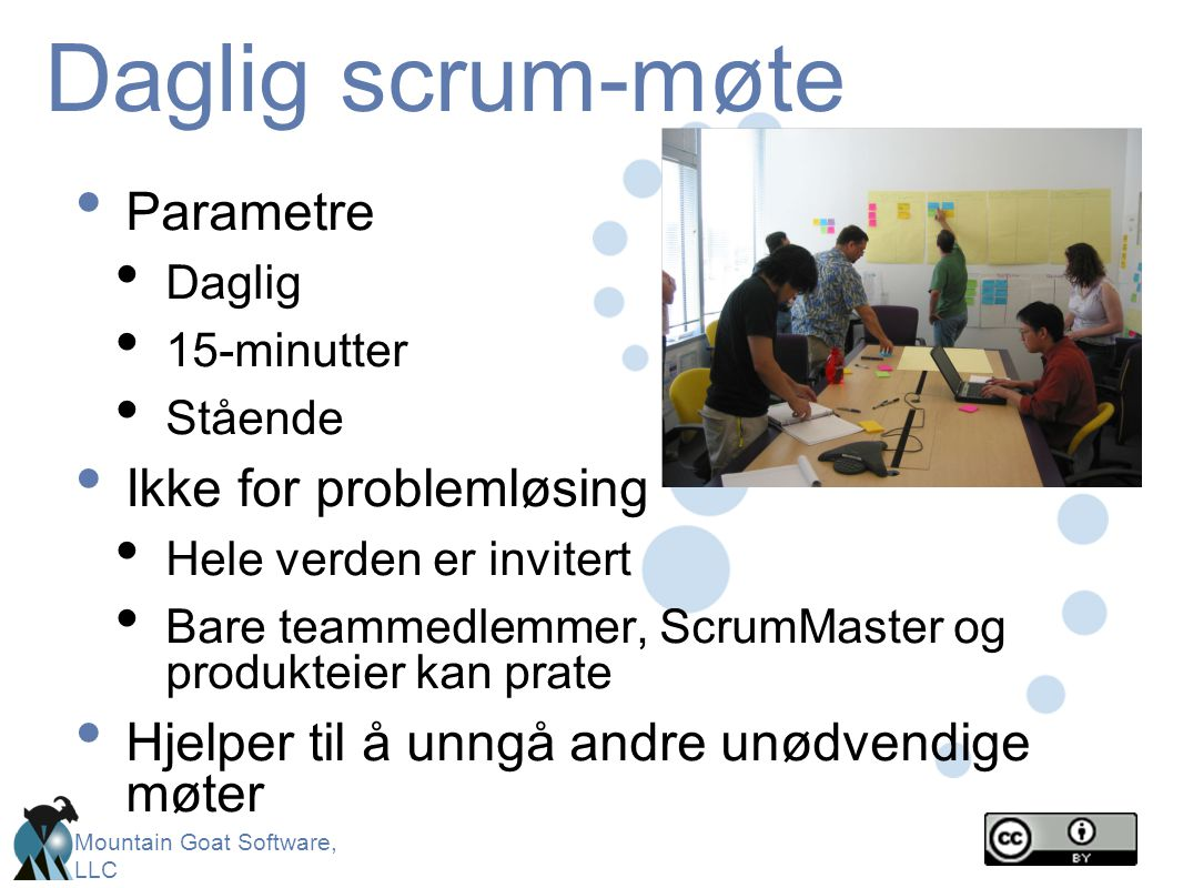 Daglig scrum-møte Parametre Ikke for problemløsing