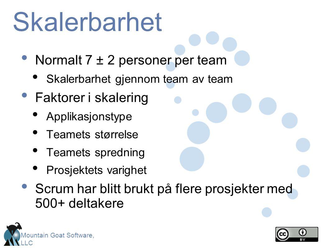Skalerbarhet Normalt 7 ± 2 personer per team Faktorer i skalering