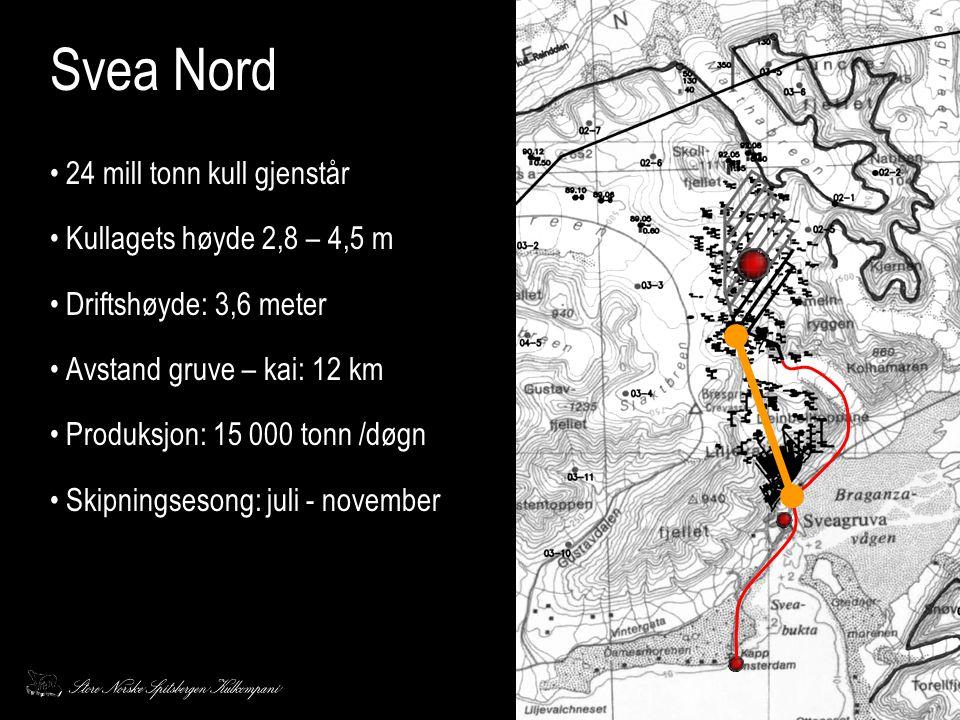 Svea Nord 24 mill tonn kull gjenstår Kullagets høyde 2,8 – 4,5 m