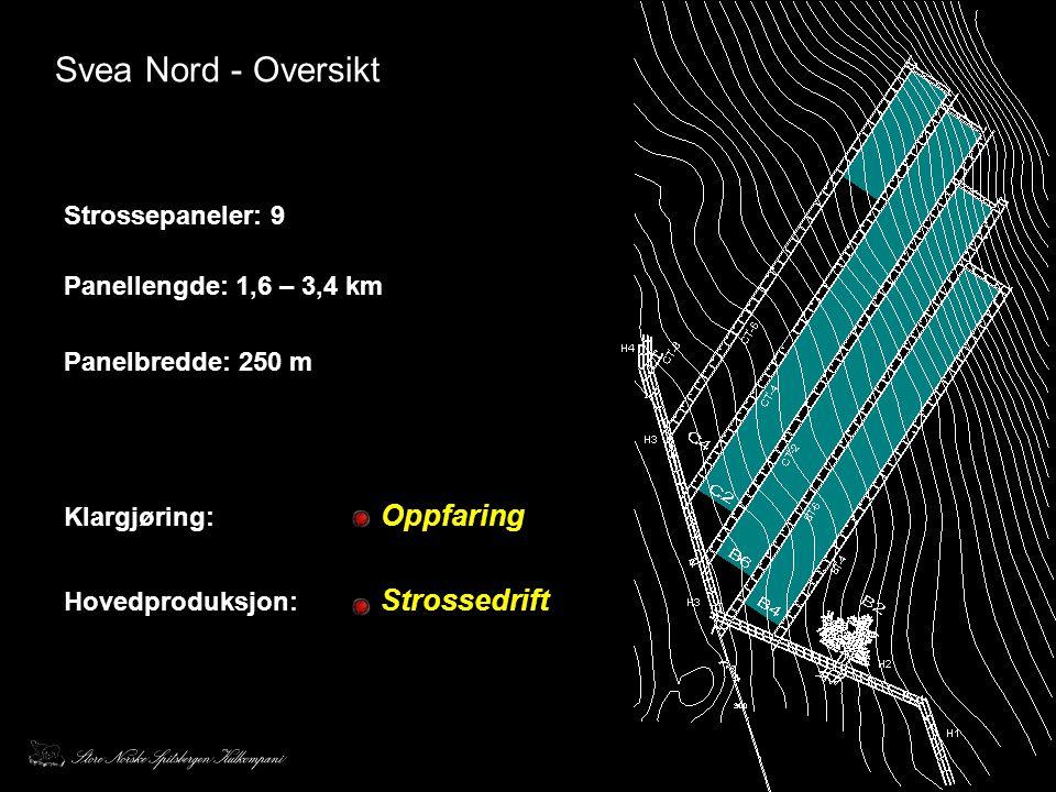 Svea Nord - Oversikt Strossepaneler: 9 Panellengde: 1,6 – 3,4 km
