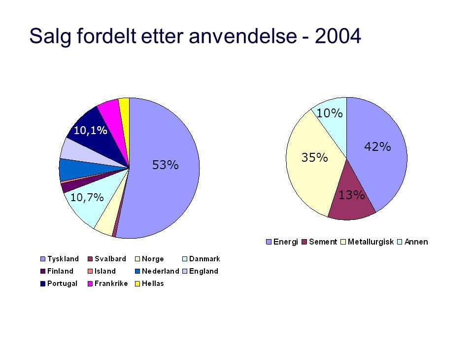 Salg fordelt etter anvendelse - 2004