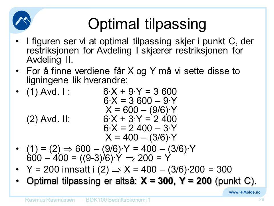 Optimal tilpassing I figuren ser vi at optimal tilpassing skjer i punkt C, der restriksjonen for Avdeling I skjærer restriksjonen for Avdeling II.