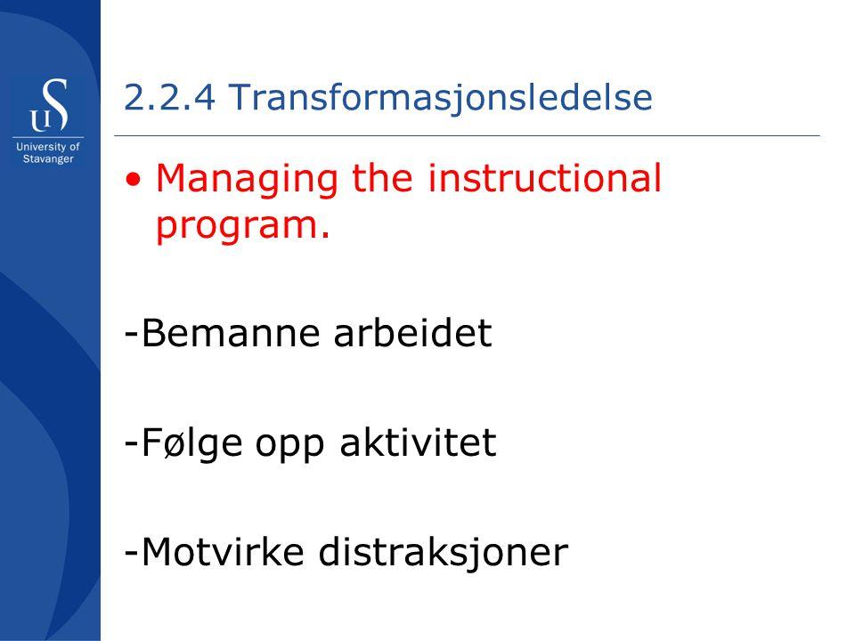 2.2.4 Transformasjonsledelse