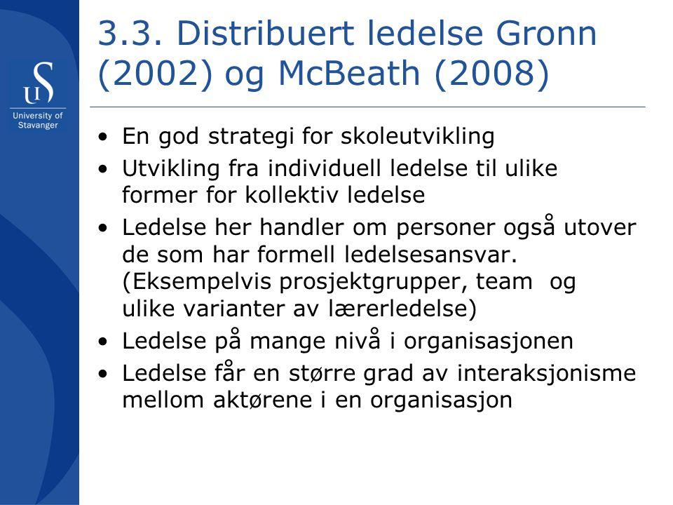 3.3. Distribuert ledelse Gronn (2002) og McBeath (2008)