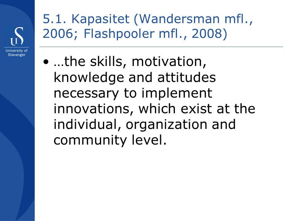 5.1. Kapasitet (Wandersman mfl., 2006; Flashpooler mfl., 2008)