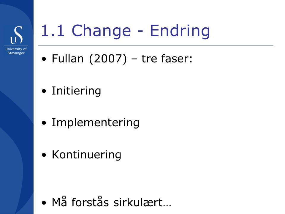 1.1 Change - Endring Fullan (2007) – tre faser: Initiering