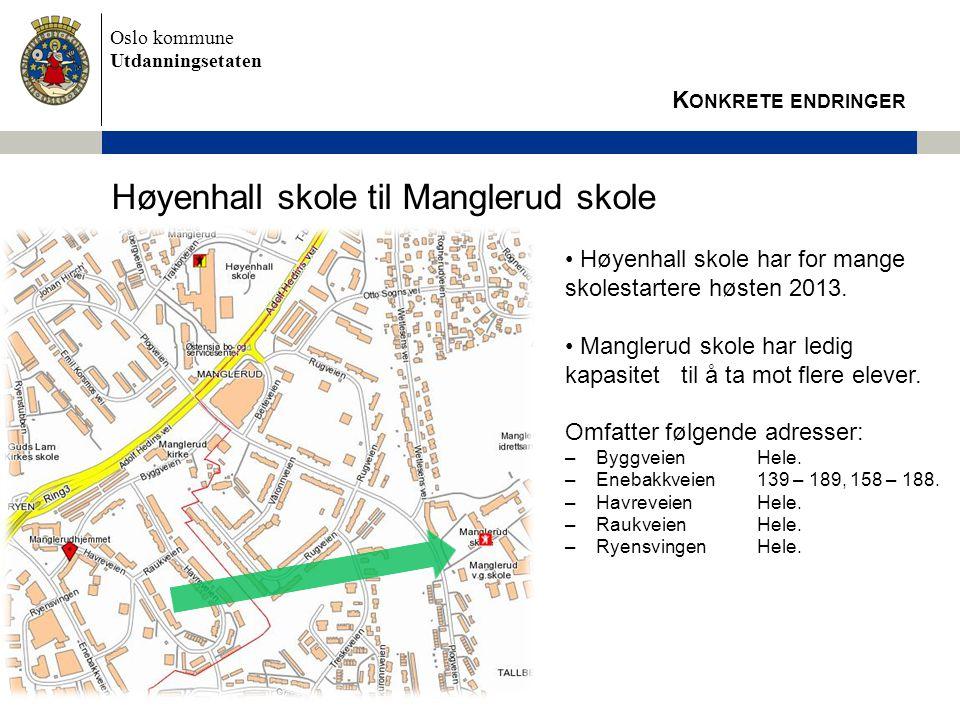 Høyenhall skole til Manglerud skole