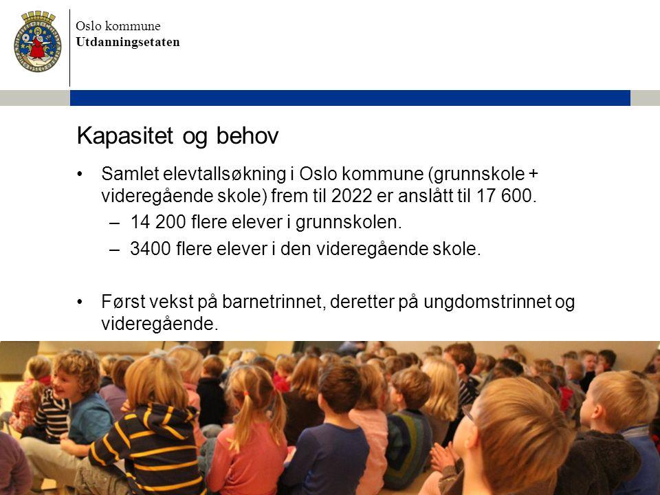 Kapasitet og behov Samlet elevtallsøkning i Oslo kommune (grunnskole + videregående skole) frem til 2022 er anslått til 17 600.