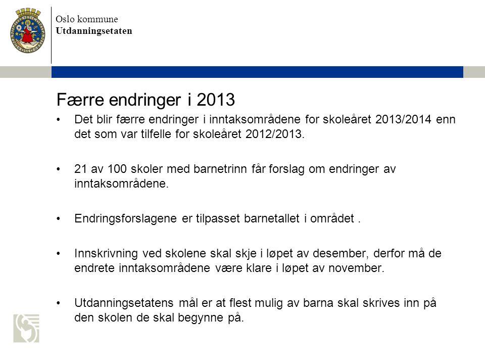 Færre endringer i 2013 Det blir færre endringer i inntaksområdene for skoleåret 2013/2014 enn det som var tilfelle for skoleåret 2012/2013.