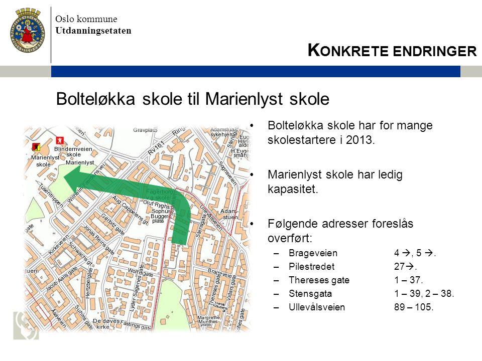 Bolteløkka skole til Marienlyst skole