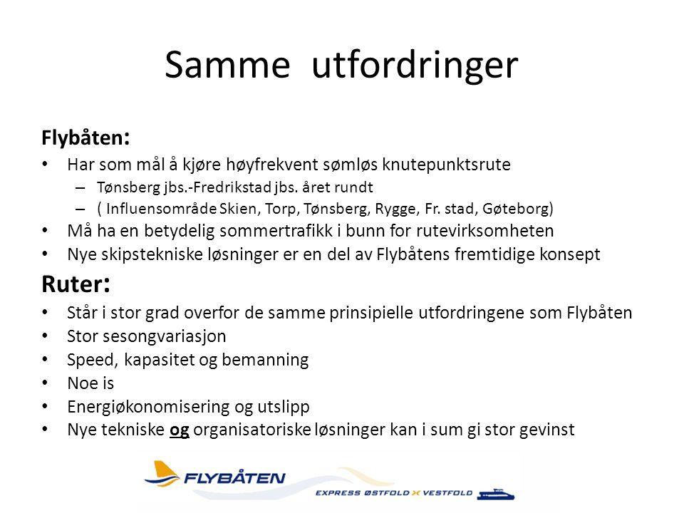 Samme utfordringer Ruter: Flybåten: