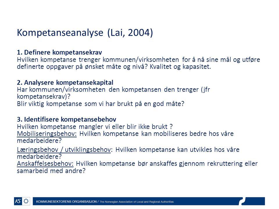 Kompetanseanalyse (Lai, 2004)