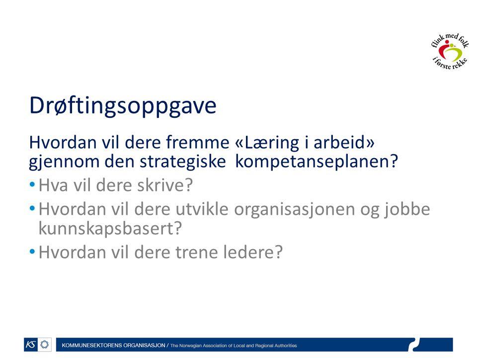Drøftingsoppgave Hvordan vil dere fremme «Læring i arbeid» gjennom den strategiske kompetanseplanen