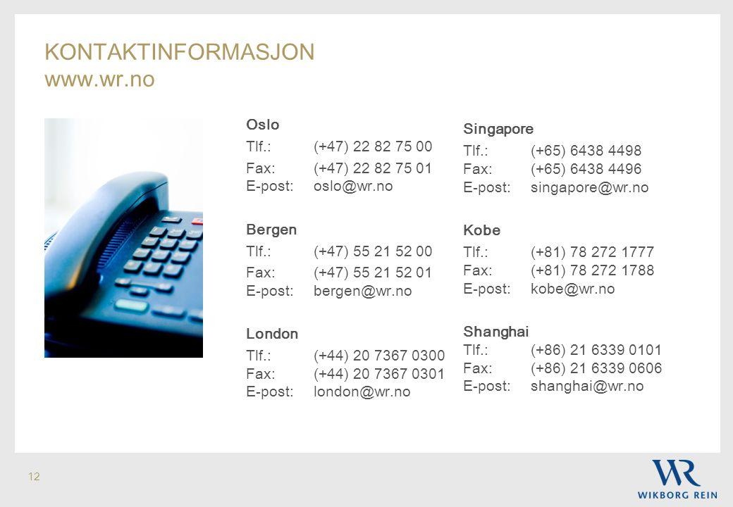 kontaktinformasjon www.wr.no