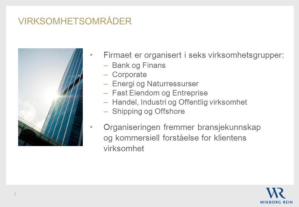 virksomhetsområder Firmaet er organisert i seks virksomhetsgrupper:
