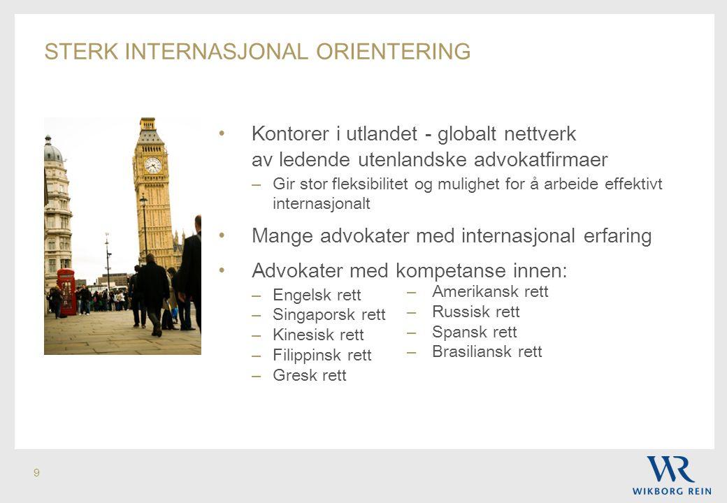 sterk internasjonal orientering