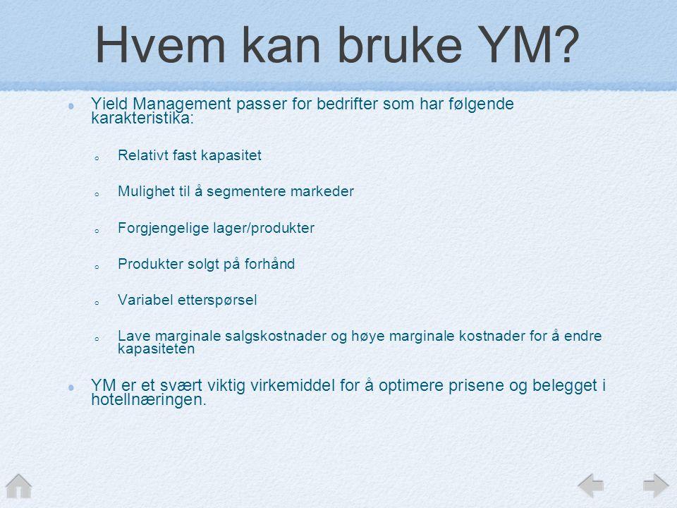 Hvem kan bruke YM Yield Management passer for bedrifter som har følgende karakteristika: Relativt fast kapasitet.