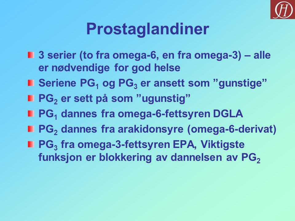 Prostaglandiner 3 serier (to fra omega-6, en fra omega-3) – alle er nødvendige for god helse. Seriene PG1 og PG3 er ansett som gunstige