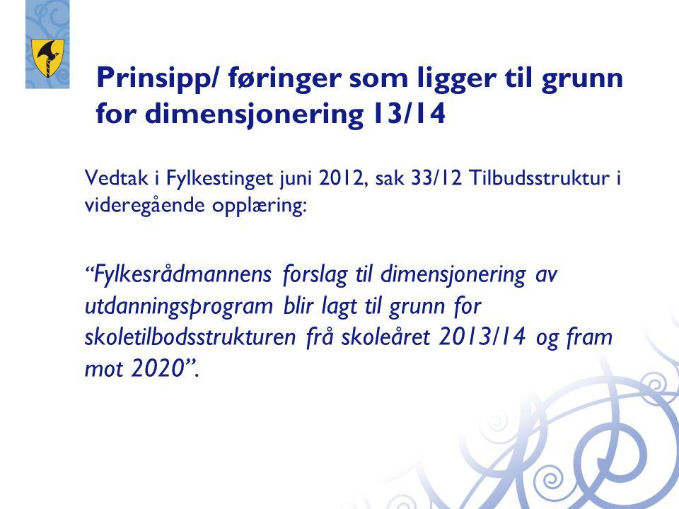 Prinsipp/ føringer som ligger til grunn for dimensjonering 13/14