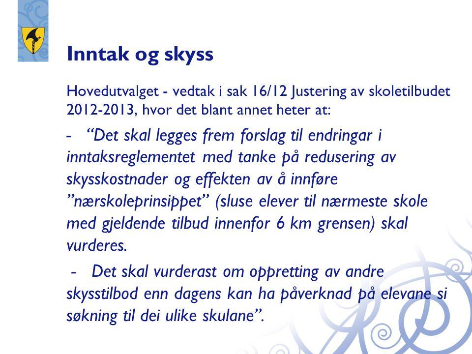 Inntak og skyss Hovedutvalget - vedtak i sak 16/12 Justering av skoletilbudet 2012-2013, hvor det blant annet heter at: