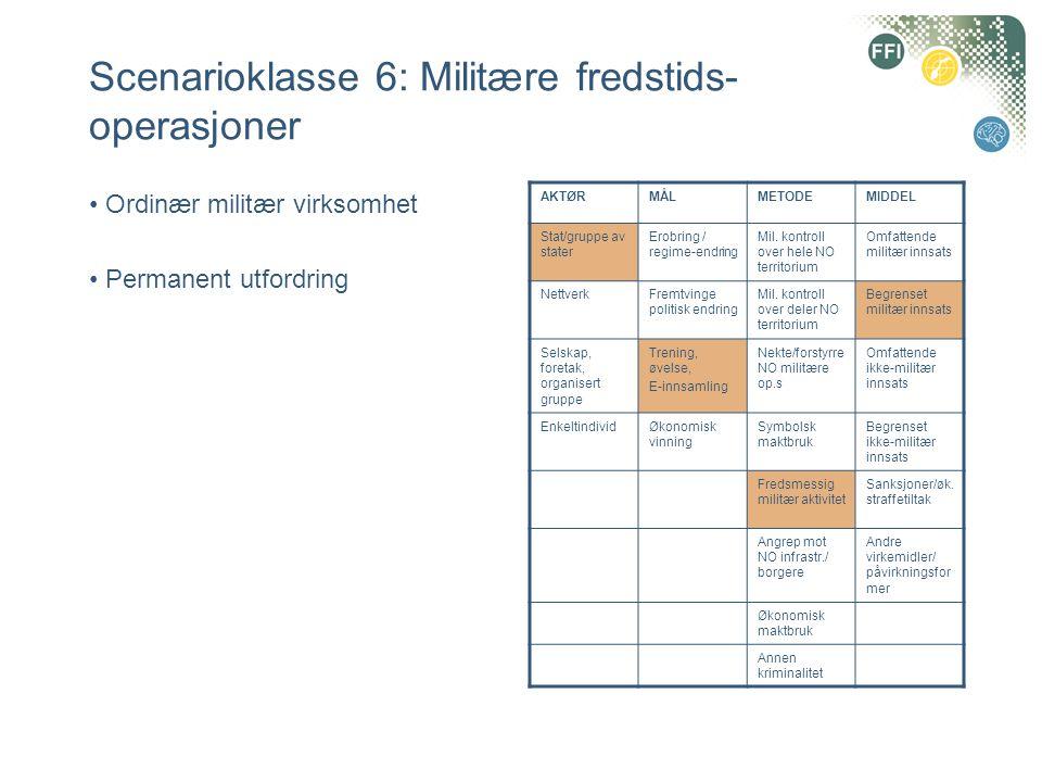 Scenarioklasse 6: Militære fredstids-operasjoner