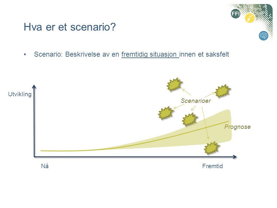 Hva er et scenario Scenario: Beskrivelse av en fremtidig situasjon innen et saksfelt. Utvikling. Scenarioer.