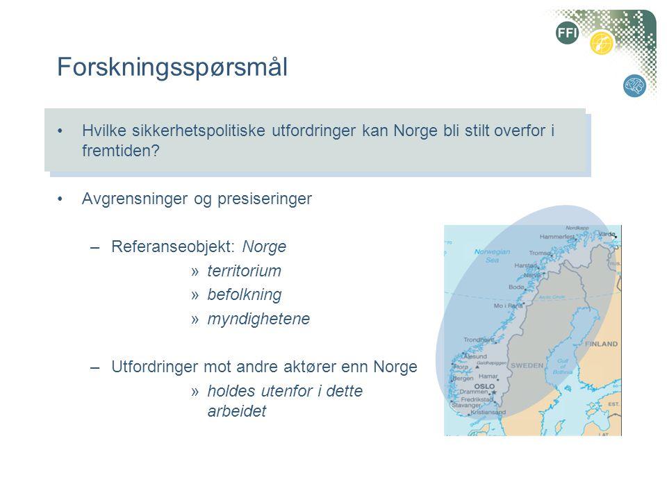 Forskningsspørsmål Hvilke sikkerhetspolitiske utfordringer kan Norge bli stilt overfor i fremtiden