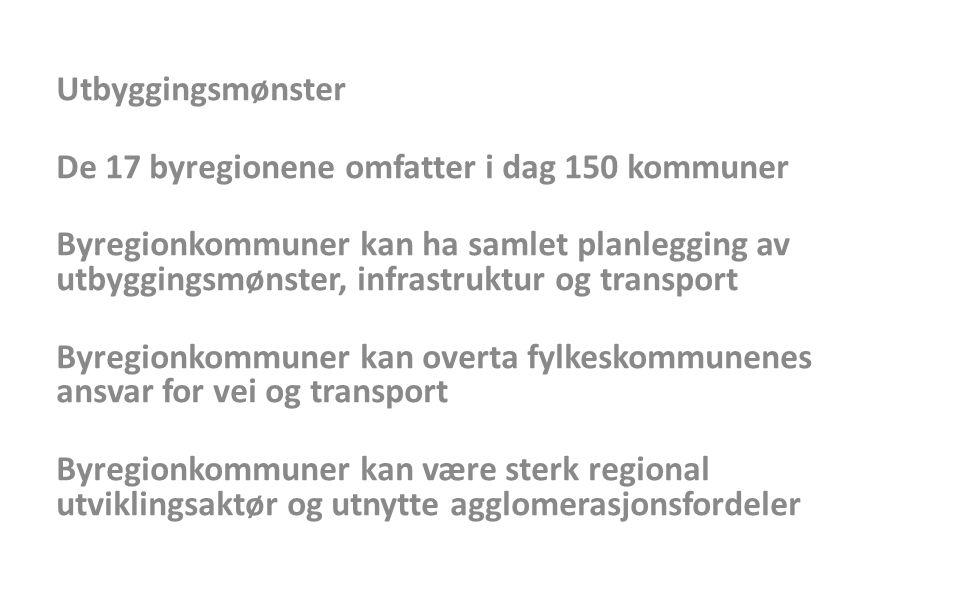 Utbyggingsmønster De 17 byregionene omfatter i dag 150 kommuner.