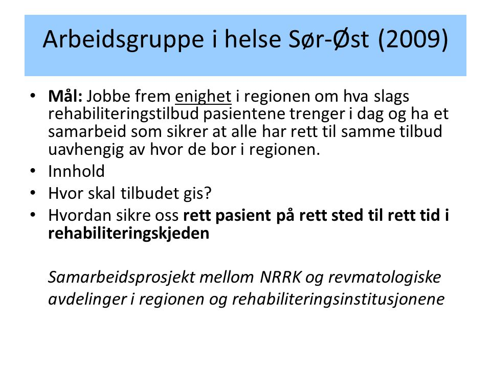 Arbeidsgruppe i helse Sør-Øst (2009)