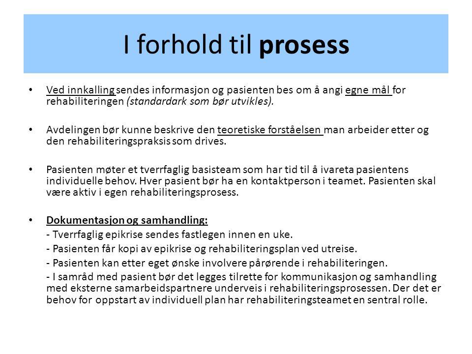 I forhold til prosess Ved innkalling sendes informasjon og pasienten bes om å angi egne mål for rehabiliteringen (standardark som bør utvikles).