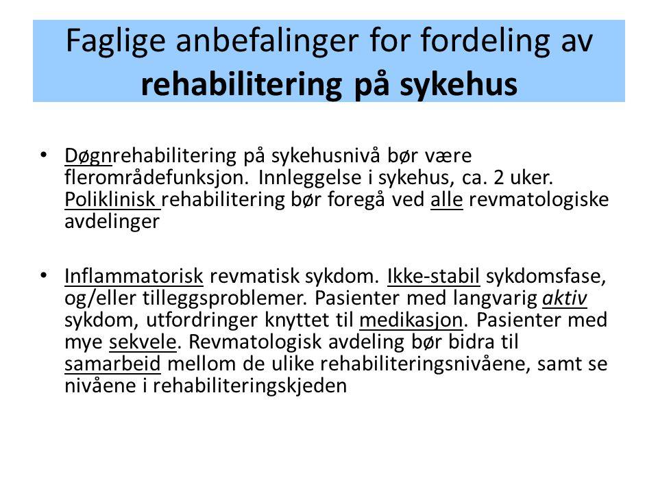 Faglige anbefalinger for fordeling av rehabilitering på sykehus