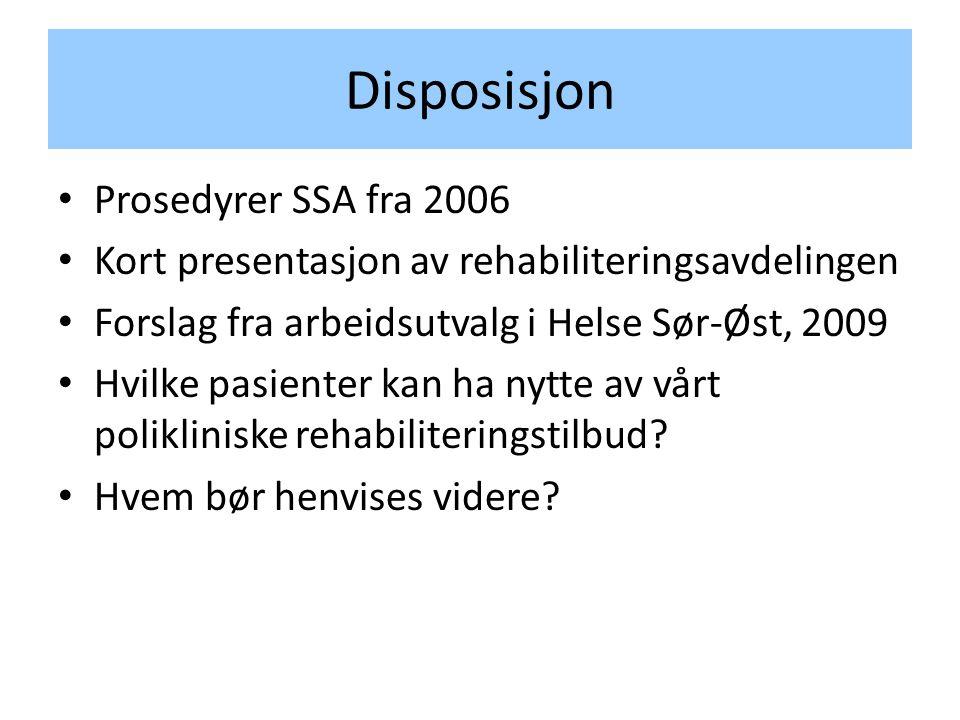 Disposisjon Prosedyrer SSA fra 2006
