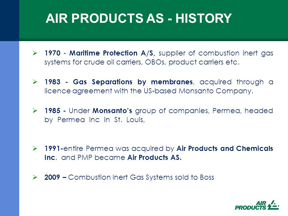AIR PRODUCTS AS - HISTORY