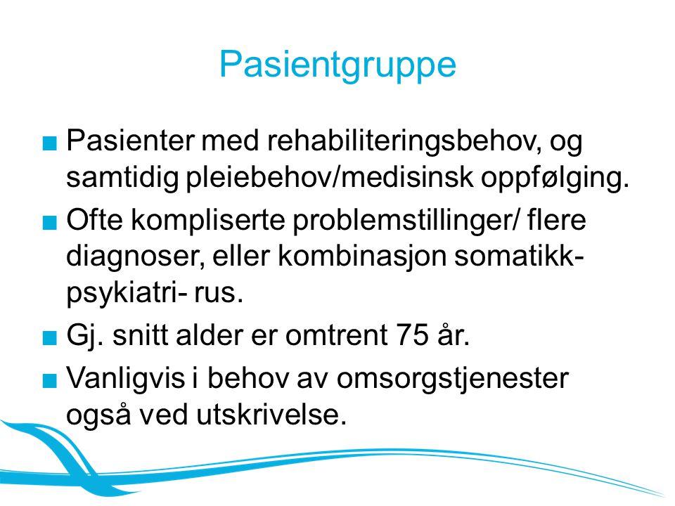Pasientgruppe Pasienter med rehabiliteringsbehov, og samtidig pleiebehov/medisinsk oppfølging.