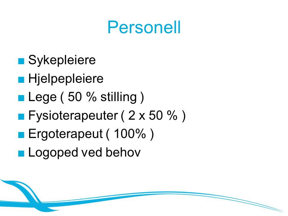 Personell Sykepleiere Hjelpepleiere Lege ( 50 % stilling )